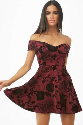Forever 21 Floral Off-the-Shoulder Fit & Flare Dress