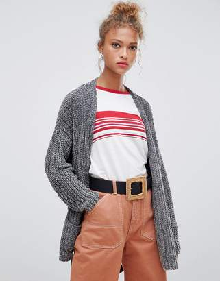 Pull&Bear chenille tie waist cardi with pockets in gray