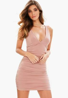 Missguided Rose Slinky Cross Back Ruched Side Bodycon Dress