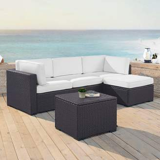 Crosley Furniture Biscayne Patio Wicker Loveseat, Chair, Coffee Table & Ottoman 4-piece Set
