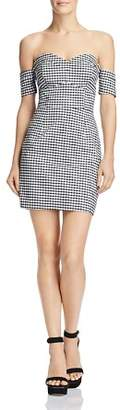 GUESS Gingham Off-the-Shoulder Dress