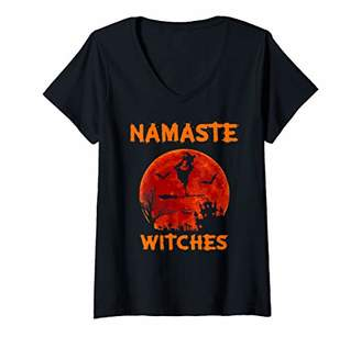 Namaste Womens Yoga Witch Halloween Yoga Costume Yogi Hippie Peace V-Neck T-Shirt