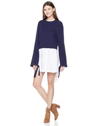 A.Dasher Women Tie-Sleeve Sweater Shirrtail Hem High-Low Tunic Shirtdress