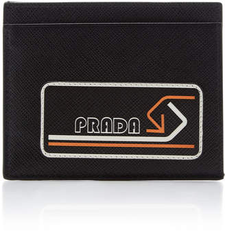 Prada Logo-Printed Textured-Leather Cardholder