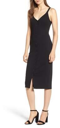 ALL IN FAVOR Snap Front Rib Knit Midi Dress