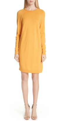 St. John Jersey Knit & Stretch Silk Sweater Dress