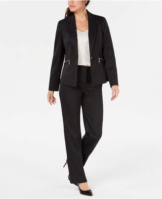Le Suit Pinstriped Zip-Pocket Pantsuit
