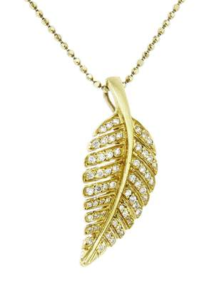 Jennifer Meyer Diamond Leaf Necklace - Yellow Gold