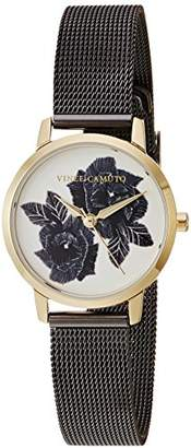 Vince Camuto Women's VC/5347GYTT Floral Pattern Dial Gunmetal Mesh Bracelet Watch