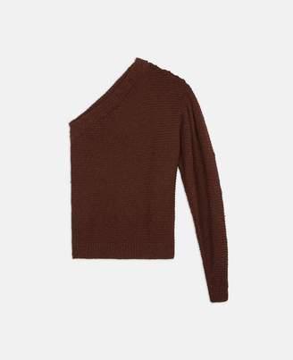 asymmetric cognac knit sweater