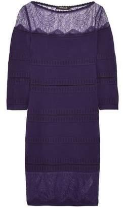 Roberto Cavalli Chantilly Lace-Paneled Stretch-Knit Mini Dress