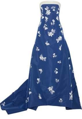 Carolina Herrera Strapless Embellished Silk-Faille Gown