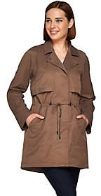 Halston H by Roll Tab Long Sleeve Anorak withDrawstring