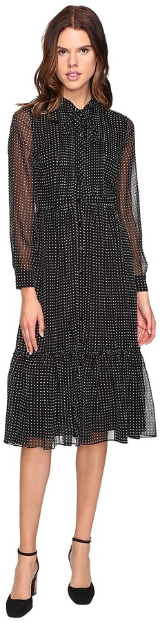 Kate Spade Kate Spade New York - Pin Dot Chiffon Shirtdress Women's Dress