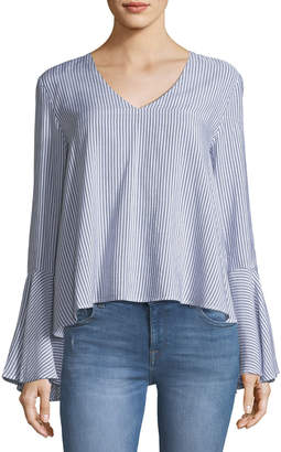 Jachs Jach's Girlfriend Striped Flounce-Sleeve Blouse