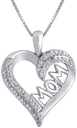 JCPenney FINE JEWELRY 1/10 CT. T.W. Diamond Sterling Silver Mom Heart Pendant Necklace