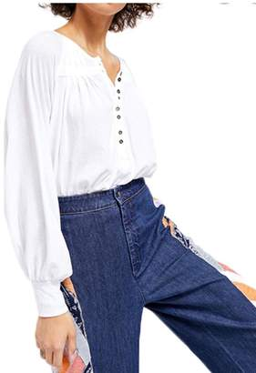 Free People White Crop Shirt