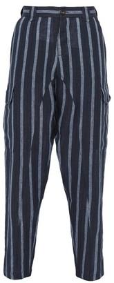 Denis Colomb Voyageur Striped Linen Trousers - Mens - Navy Multi