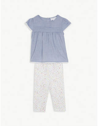 The Little White Company Chambray top & floral leg set 0-24 months