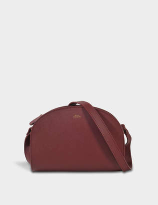 A.P.C. Demi Lune Bag in Burgundy Embossed Leather