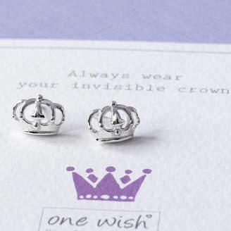 2711ff46e Grace & Valour Princess Crown Sterling Silver Stud Earrings