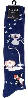 K. Bell Novelty Knee High Socks - Cat Spilled Milk