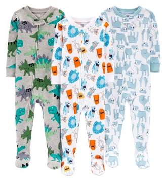 Carter's Child of Mine by One piece footed snug fit cotton pajamas, 3pk (baby boys & toddler boys)