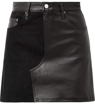 Amiri Leather And Denim Mini Skirt - Black