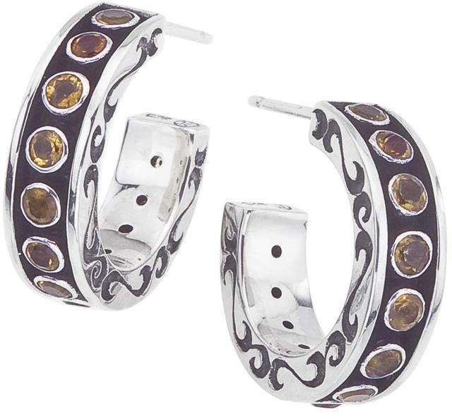 Citrine Oxidized Sterling Silver Swirl Designed Open Hoop Earrings by Ax Jewelry