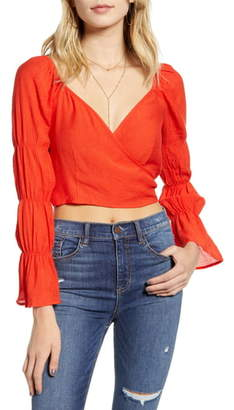 Moon River Tie Back Cinch Sleeve Crop Top