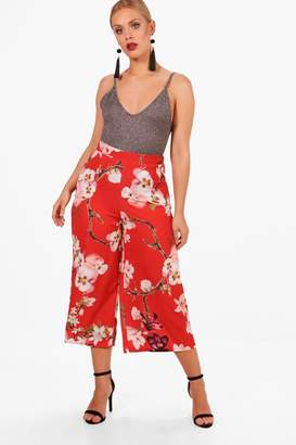boohoo Plus Oriental Floral Print Woven Trouser