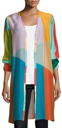 Johnny Was Busch Button-Front Colorblocked Cardigan, Multi $245 thestylecure.com