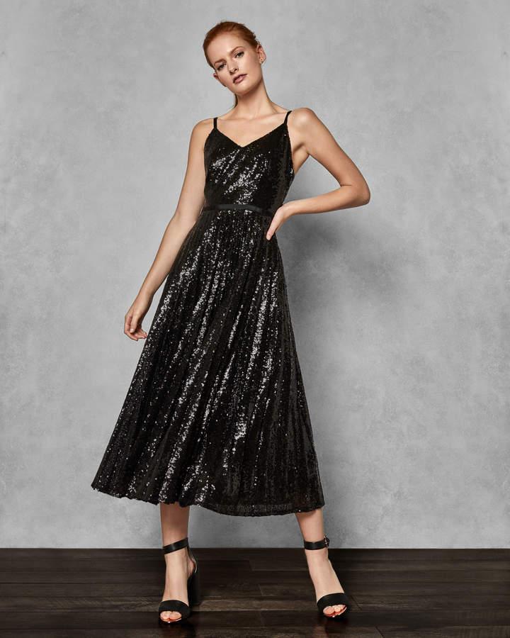 ETTA Sequin pleated maxi dress