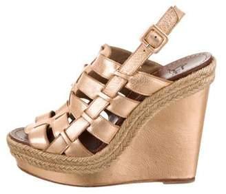 Christian Louboutin Metallic Leather Wedge Sandals