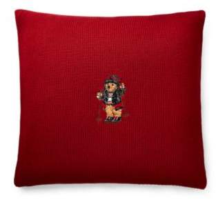 Skier Bear Cotton Throw Pillow