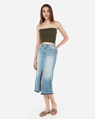 Express Smocked Cropped Tube Top