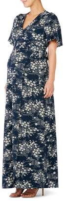Ingrid & Isabel R) Flutter Sleeve Knit Maternity/Nursing Maxi Dress
