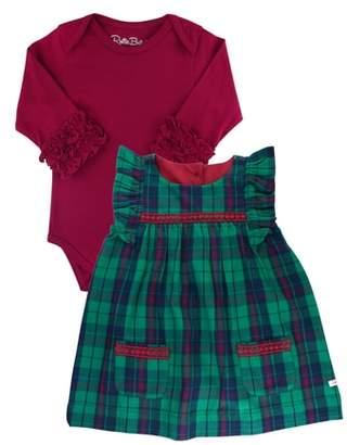 RuffleButts Micah Plaid Dress & Bodysuit Set