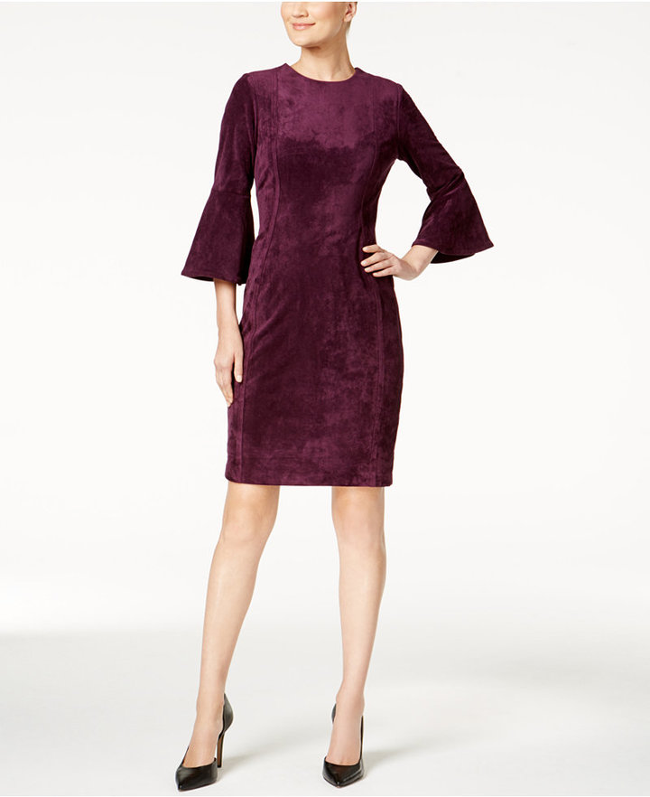 Calvin Klein Bell-Sleeve Faux-Suede Dress