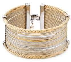 Alor Classique Wide Steel & 18K Gold Cuff Bracelet