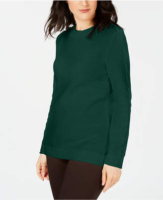 Karen Scott Long-Sleeve Cotton Sweater