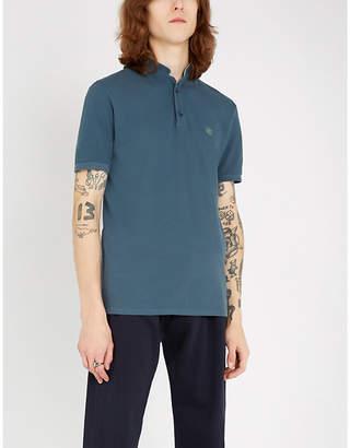 The Kooples Mandarin-collar cotton-piqué polo shirt
