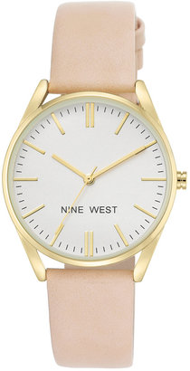 Nine West Women's Pastel Pink Faux Leather Strap Watch 36mm NW-1994WTPK $49 thestylecure.com