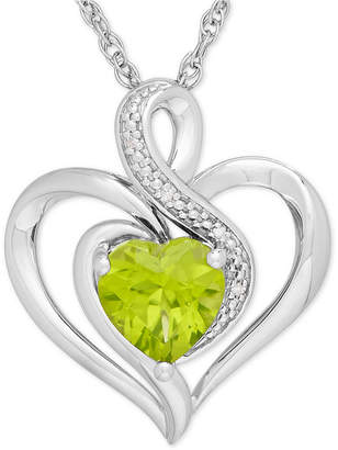 Macy's Peridot (1-1/3 ct. t.w.) & Diamond Accent Heart Pendant Necklace in Sterling Silver