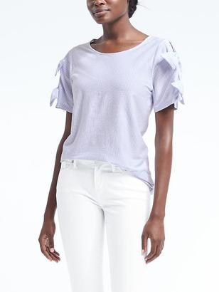 Stripe Bow-Sleeve Couture Tee $39.50 thestylecure.com
