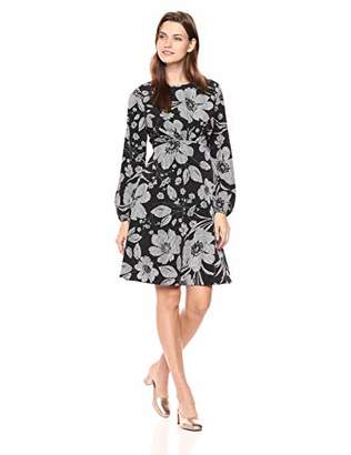 London Times Women's Puff Sleeve Round Neck CDC FIT and Flare Dress