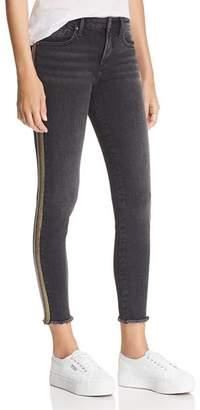 Aqua Metallic Track Stripe Skinny Jeans in Black/Rainbow - 100% Exclusive