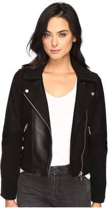 Blank NYC Suede and Cable Sweater Moto Jacket in Mix and Match Women's Coat