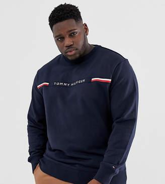 90fad7ba Tommy Hilfiger Big & Tall sweatshirt with chest stripe logo in navy