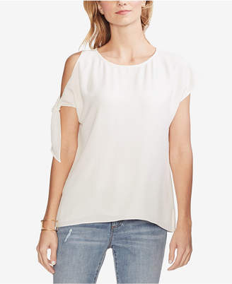 56a46559390dd Vince Camuto White Cold Shoulder Women s Tops - ShopStyle